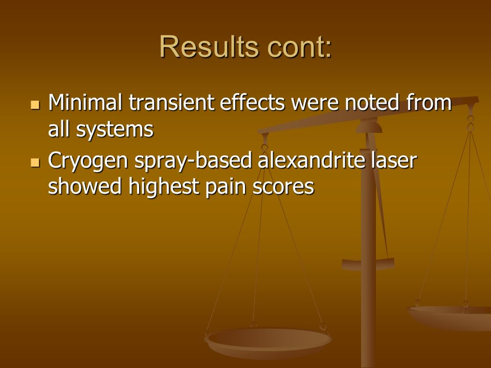 Results cont: Minimal transient effects were noted from all systems
