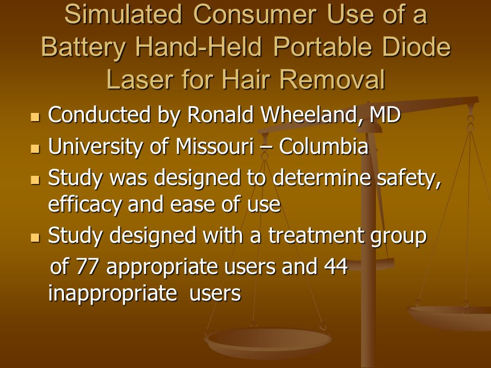 Simulated Consumer Use of a Battery Hand-Held Portable Diode Laser for Hair Removal