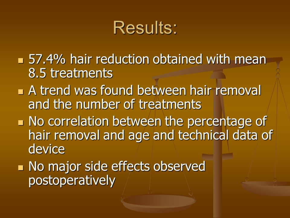 Results: 57.4% hair reduction obtained with mean 8.5 treatments