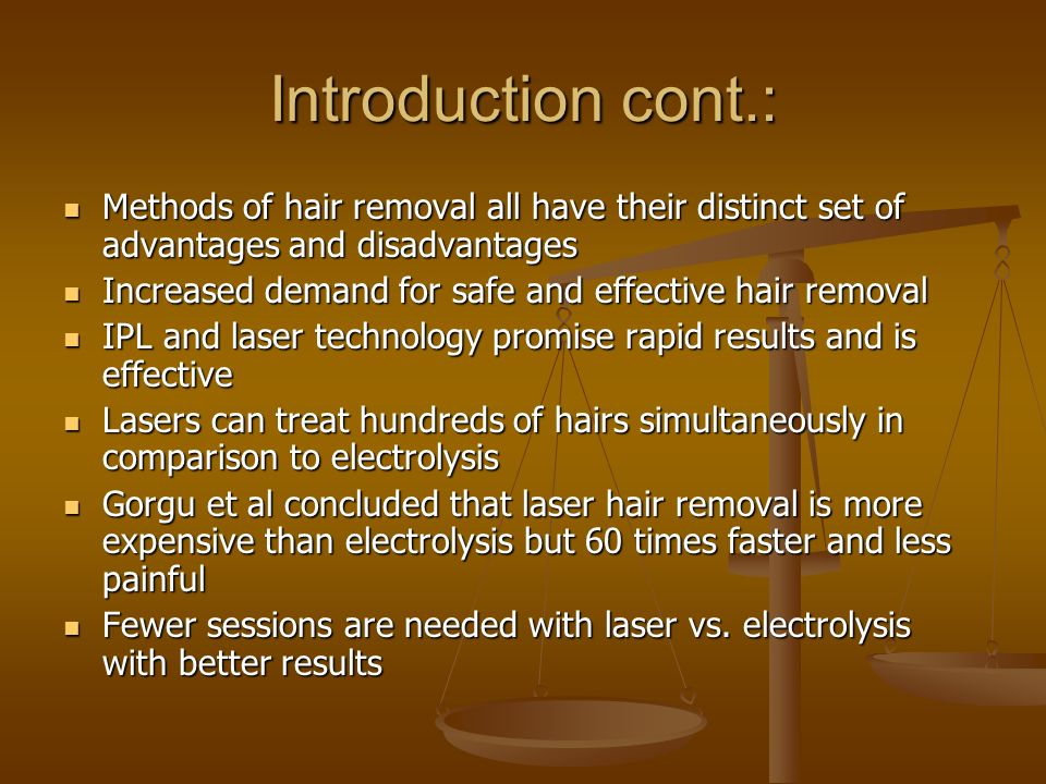 Introduction cont.: Methods of hair removal all have their distinct set of advantages and disadvantages.