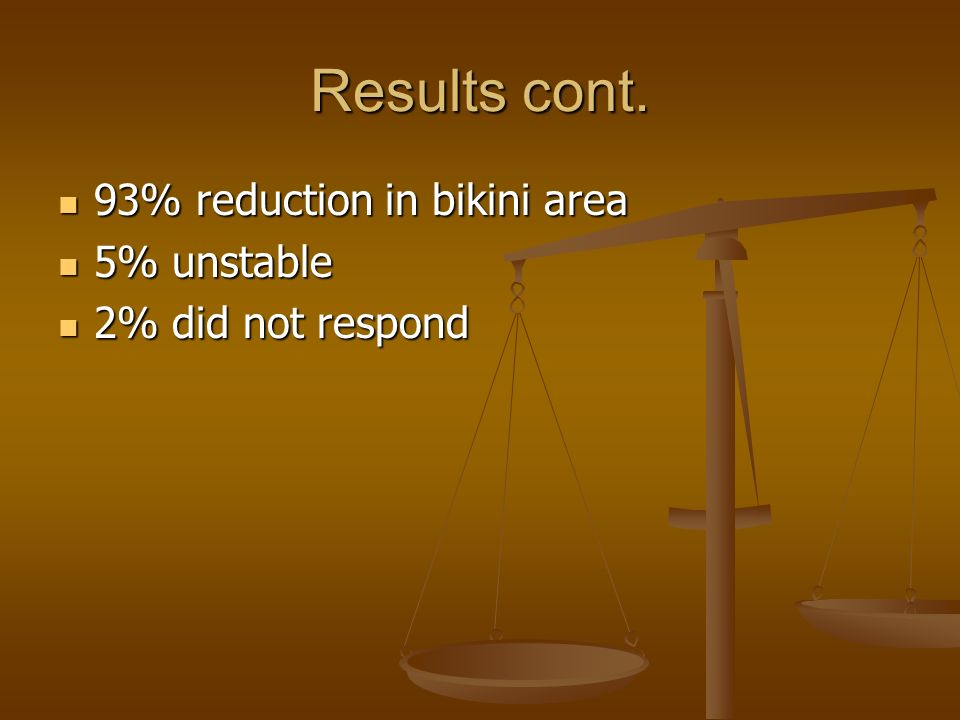 Results cont. 93% reduction in bikini area 5% unstable