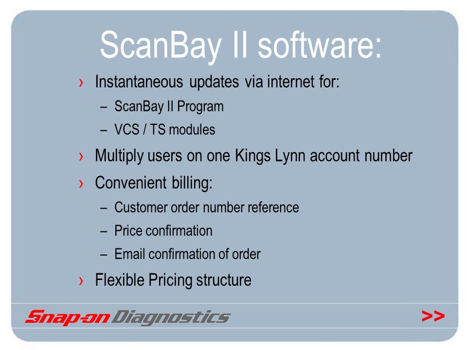 ScanBay II software: Instantaneous updates via internet for: