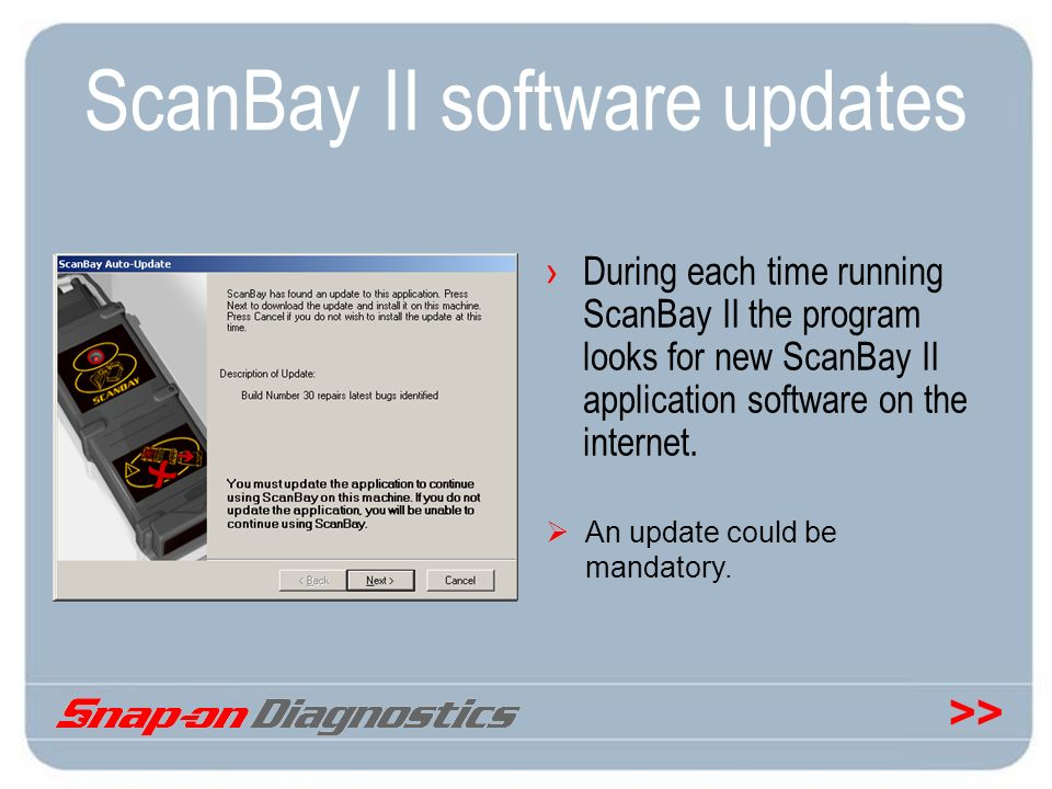 ScanBay II software updates
