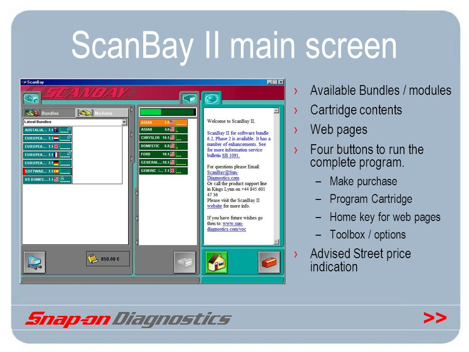 ScanBay II main screen Available Bundles / modules Cartridge contents