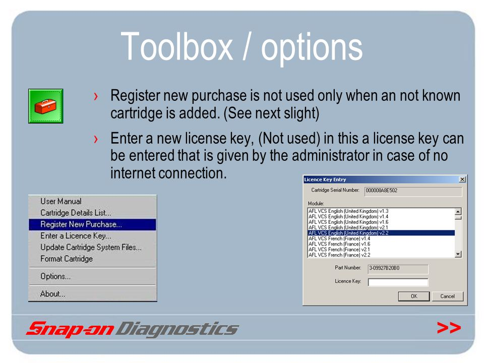 Toolbox / options Register new purchase is not used only when an not known cartridge is added. (See next slight)