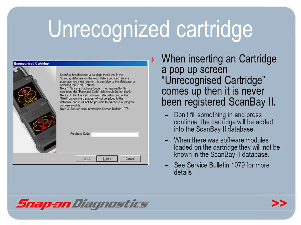 Unrecognized cartridge