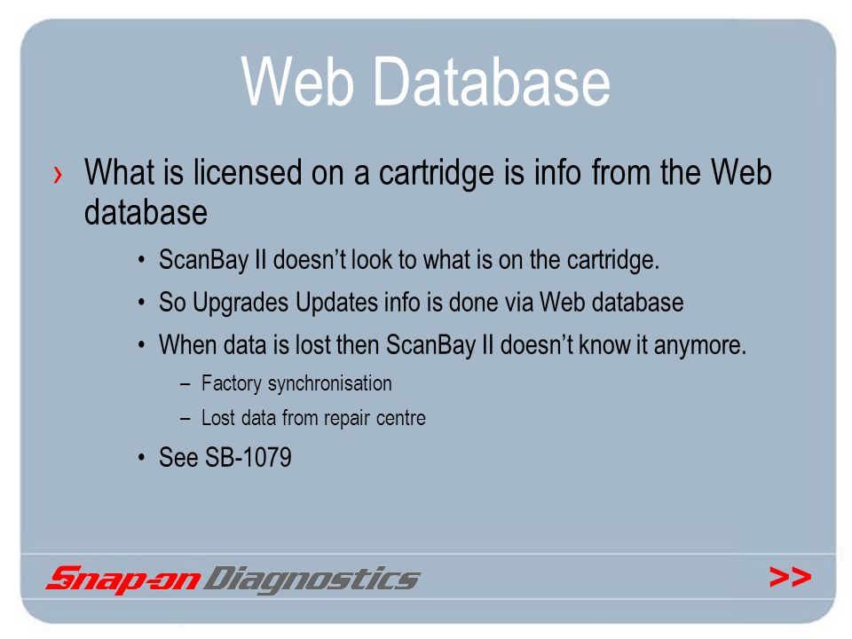 Web Database What is licensed on a cartridge is info from the Web database. ScanBay II doesn't look to what is on the cartridge.