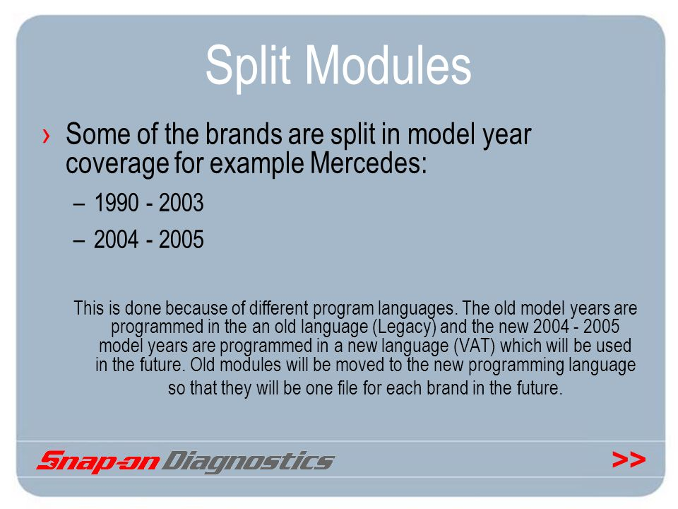 Split Modules Some of the brands are split in model year coverage for example Mercedes: 1990 - 2003.
