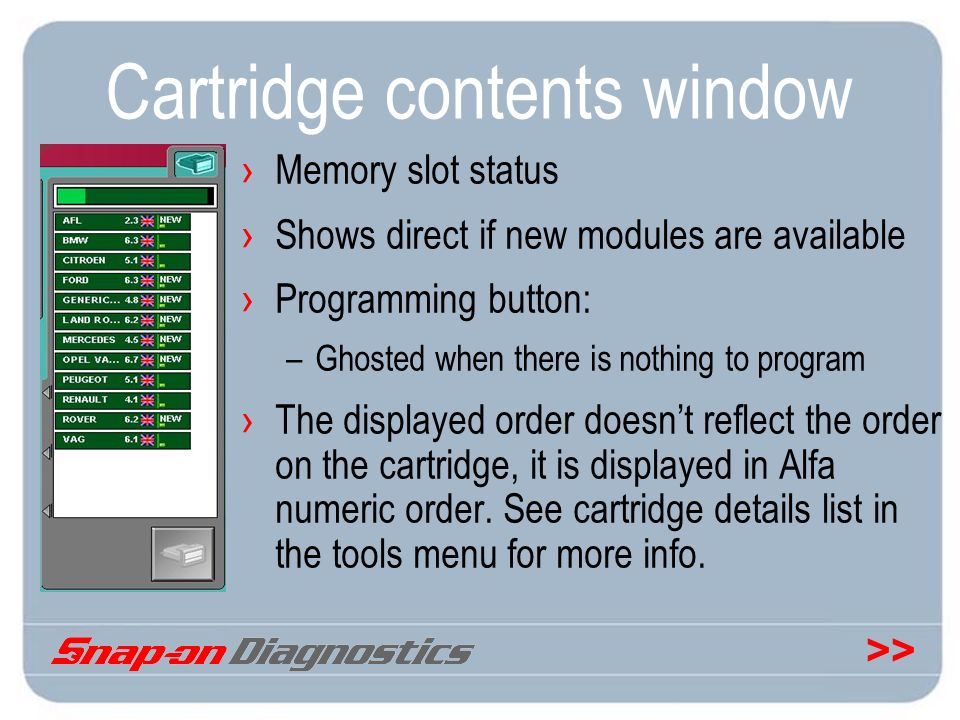 Cartridge contents window