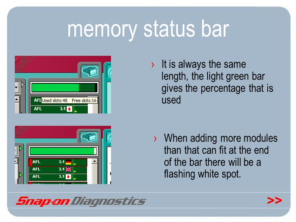 memory status bar It is always the same length, the light green bar gives the percentage that is used.