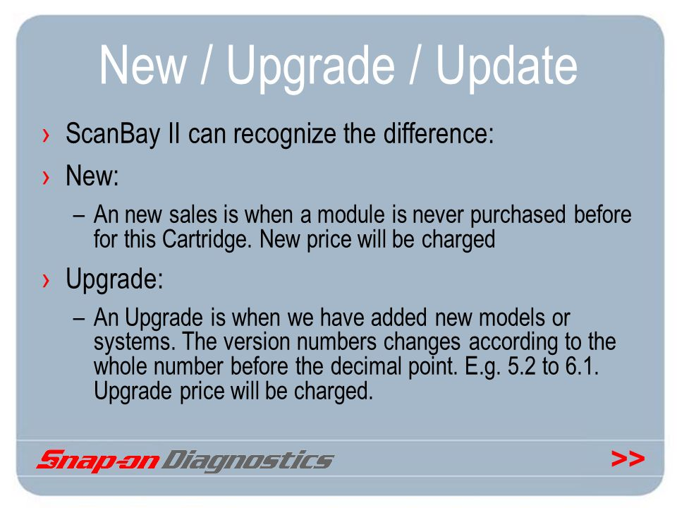 New / Upgrade / Update ScanBay II can recognize the difference: New: