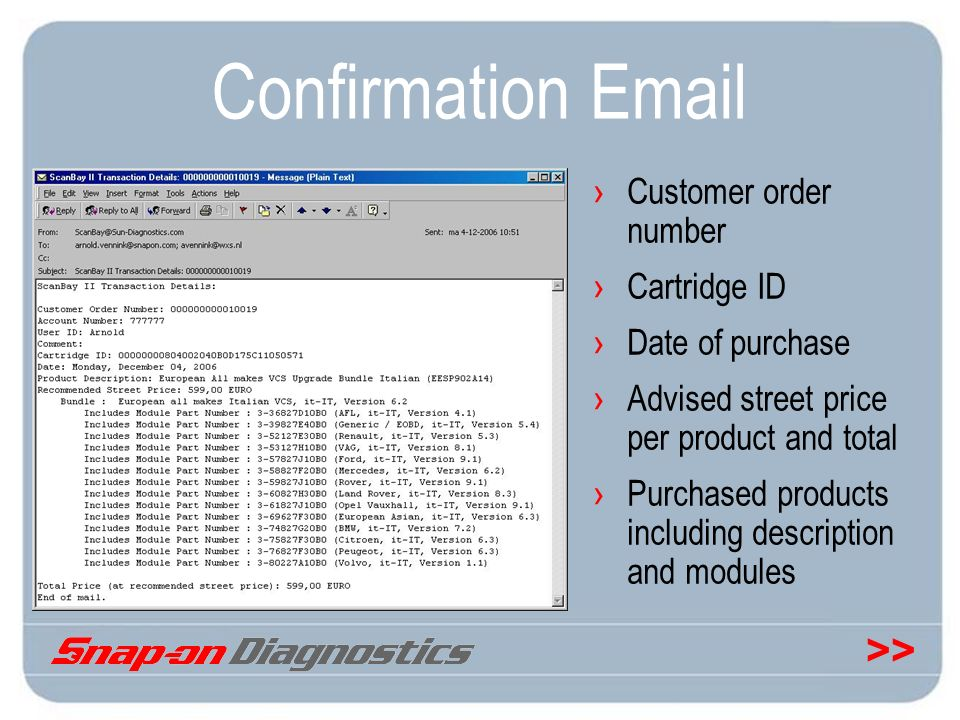 Confirmation Email Customer order number Cartridge ID Date of purchase