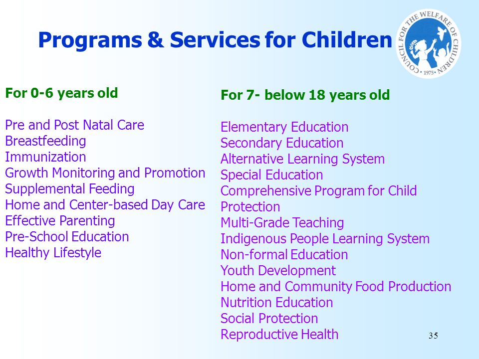 Programs & Services for Children