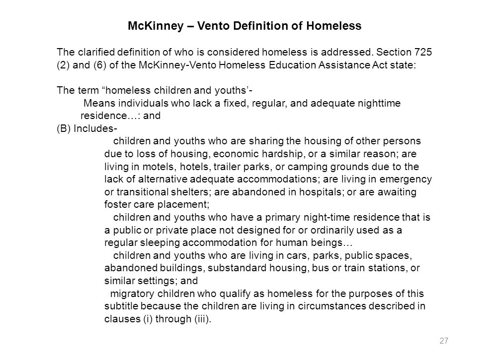 McKinney – Vento Definition of Homeless