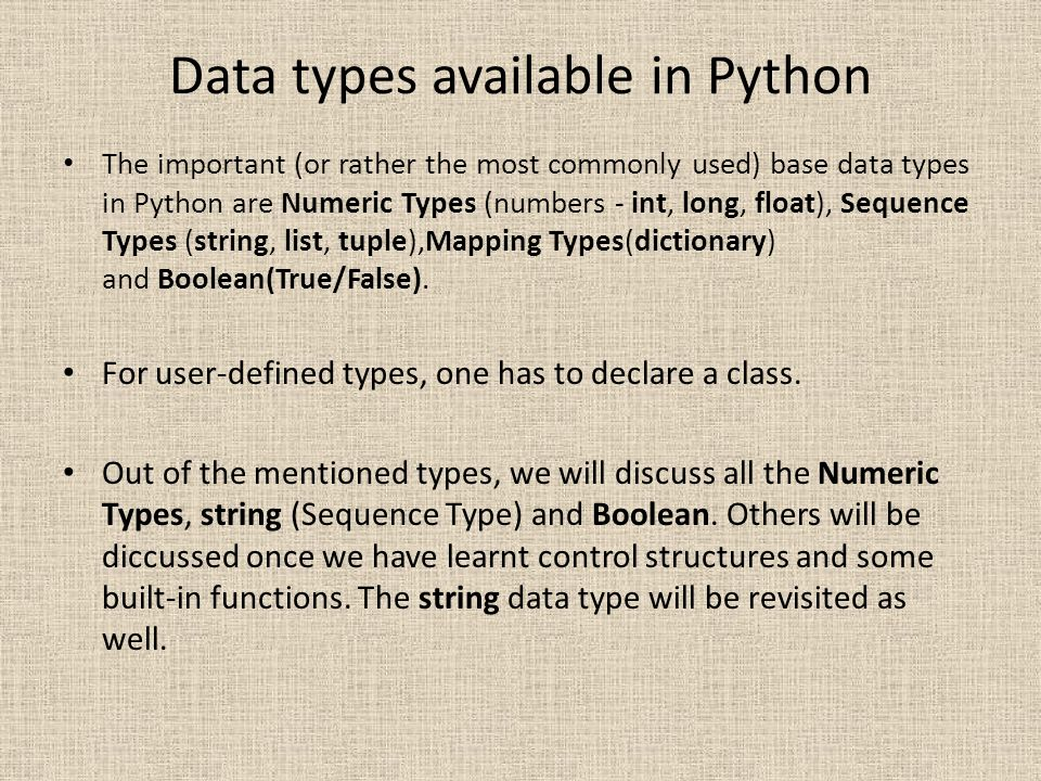 Data types available in Python