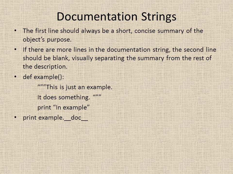 Documentation Strings