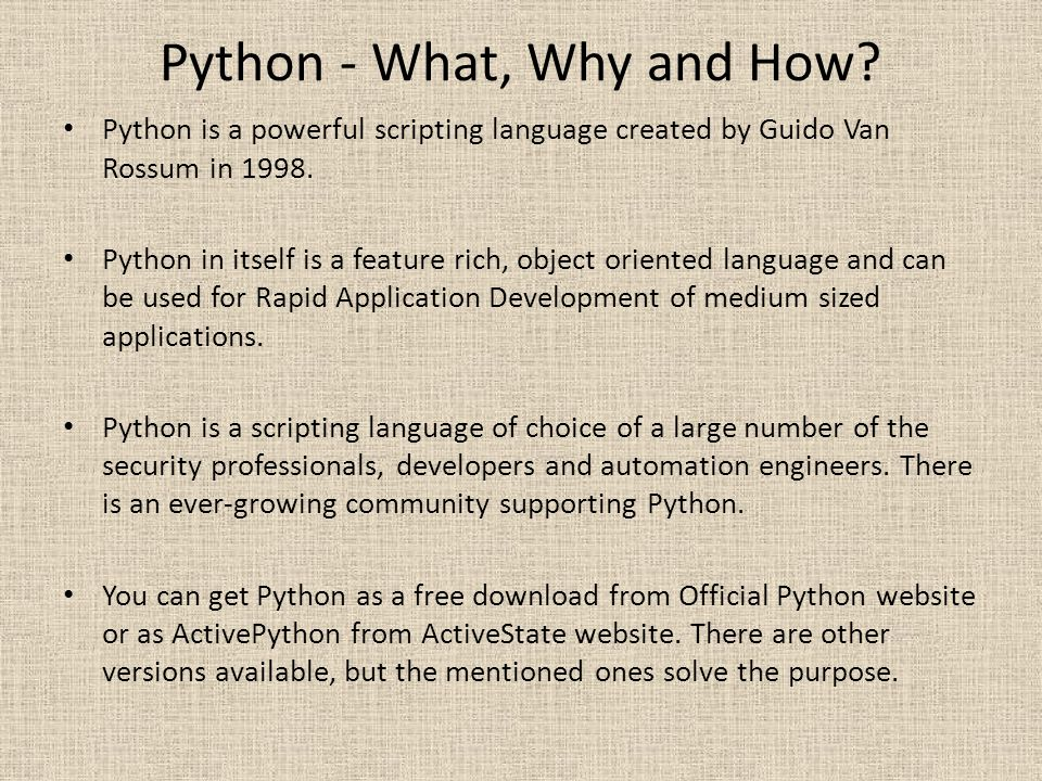 Python - What, Why and How