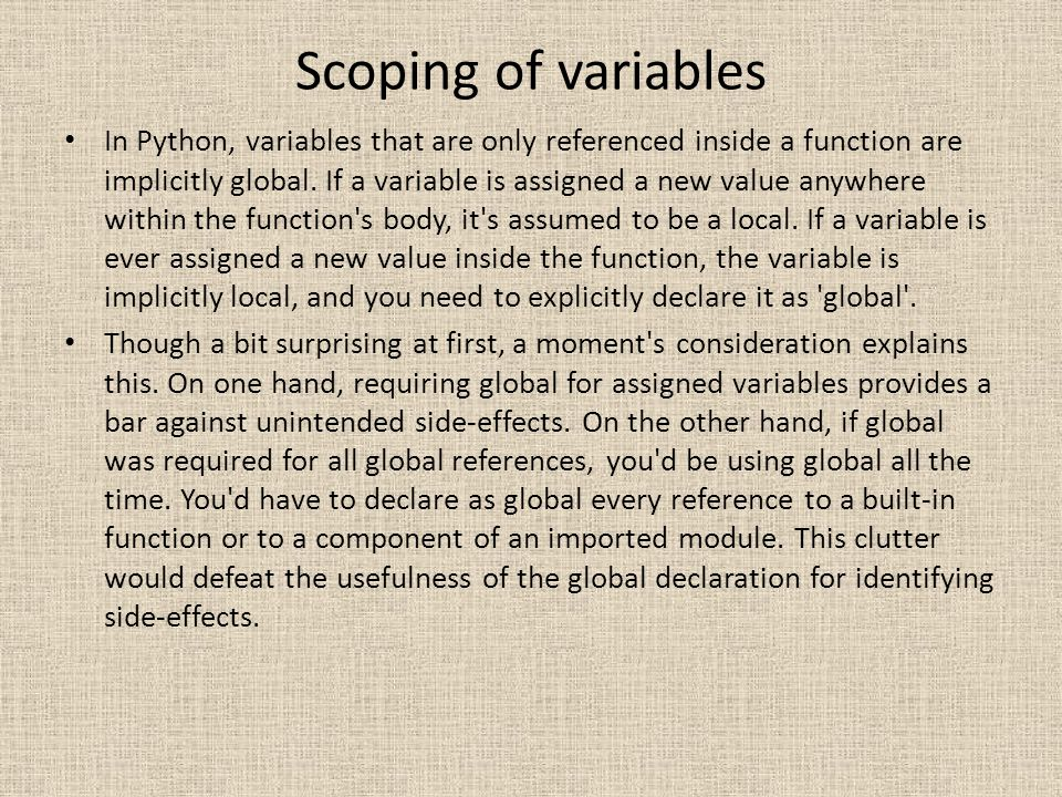 Scoping of variables