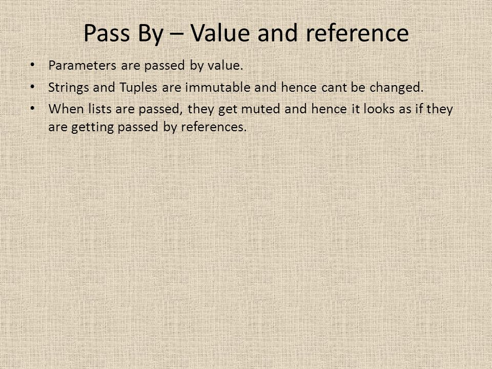Pass By – Value and reference