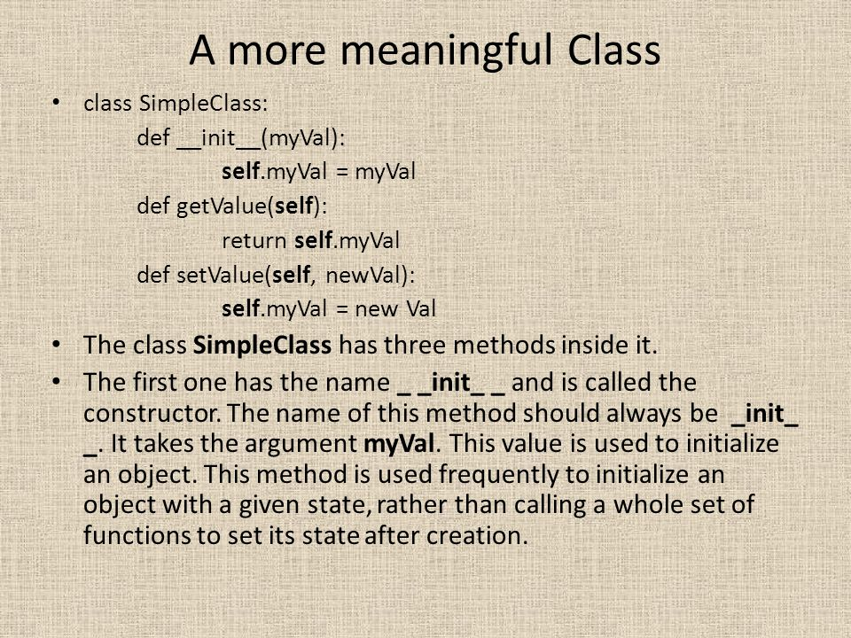 A more meaningful Class