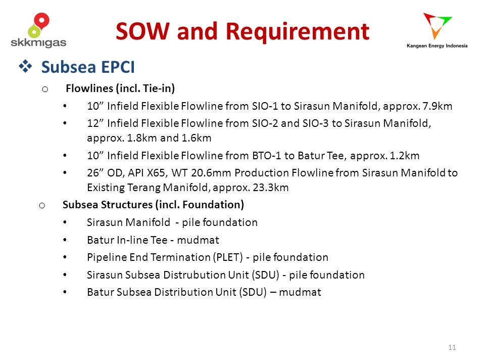 SOW and Requirement Subsea EPCI Flowlines (incl. Tie-in)