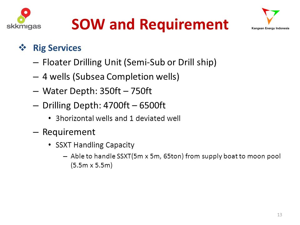 SOW and Requirement Rig Services