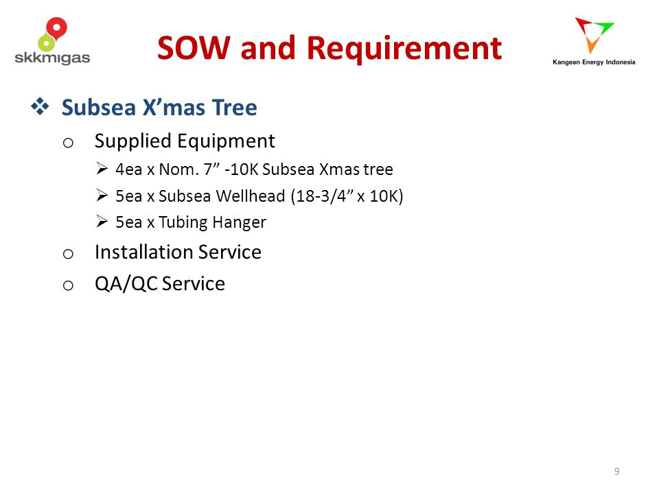 SOW and Requirement Subsea X'mas Tree Supplied Equipment