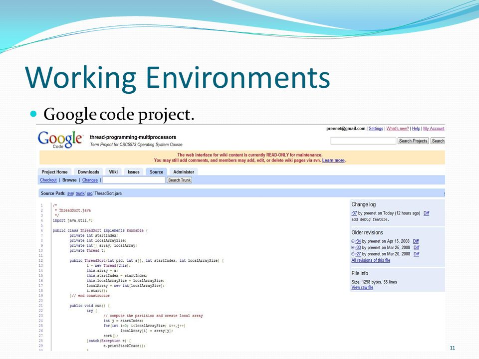 Working Environments Google code project.