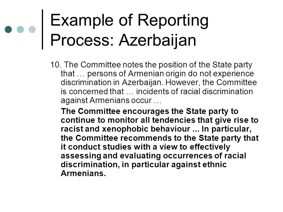 Example of Reporting Process: Azerbaijan