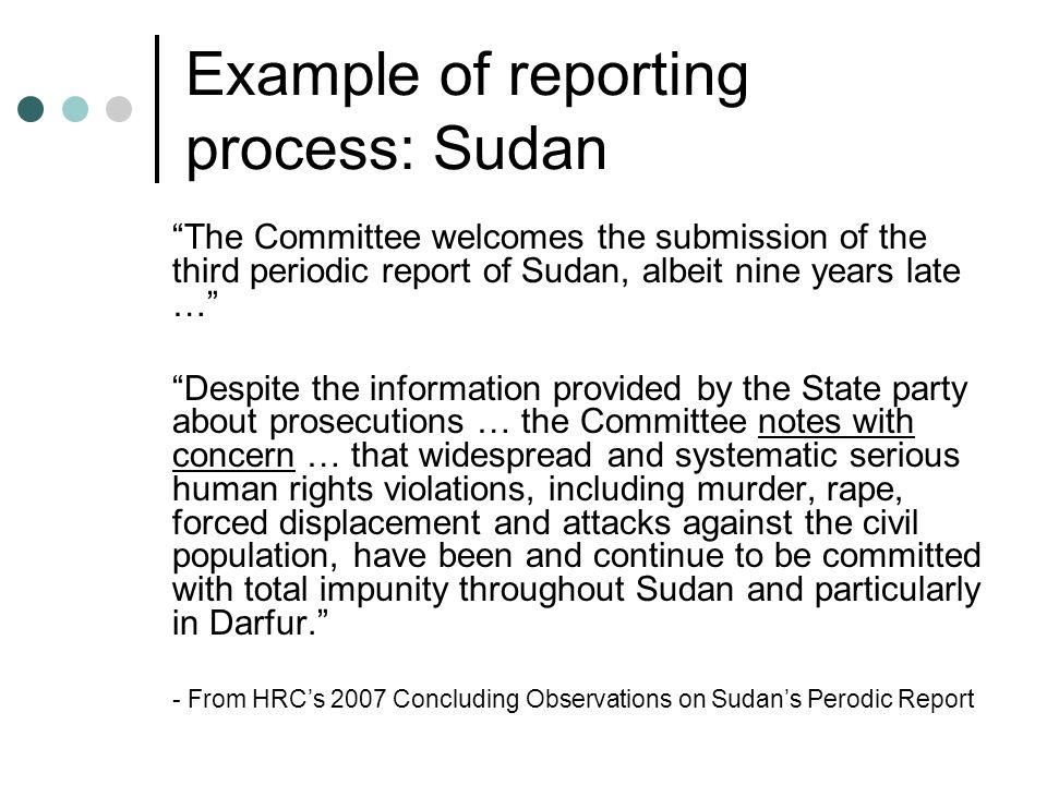 Example of reporting process: Sudan