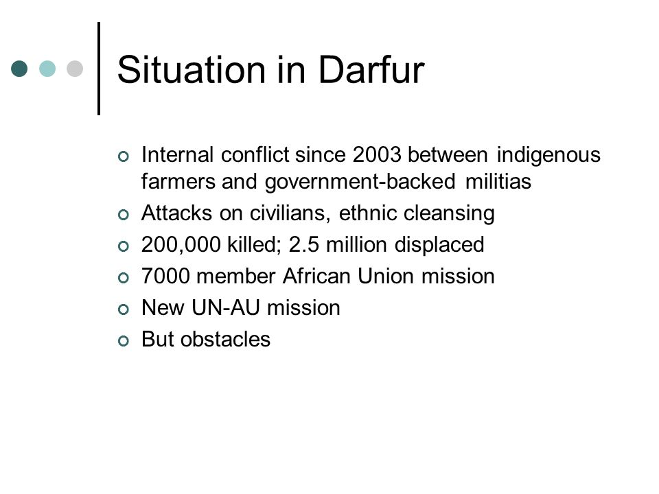 Situation in Darfur Internal conflict since 2003 between indigenous farmers and government-backed militias.