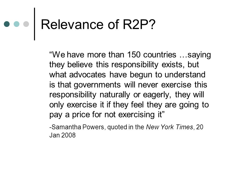 Relevance of R2P