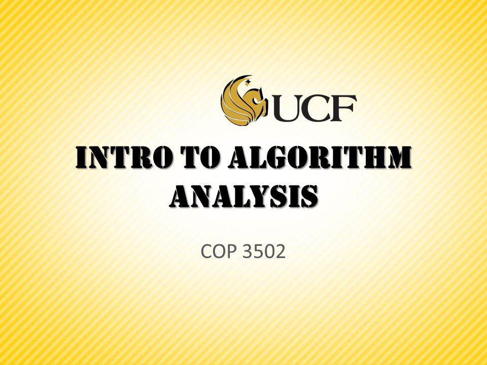 Intro to Algorithm analysis