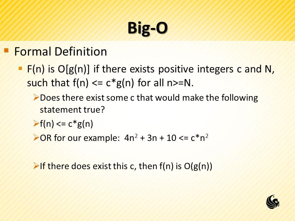Big-O Formal Definition