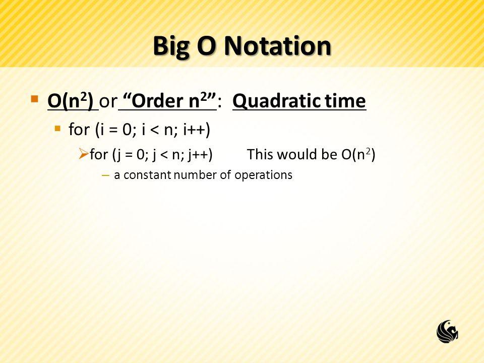 Big O Notation O(n2) or Order n2 : Quadratic time