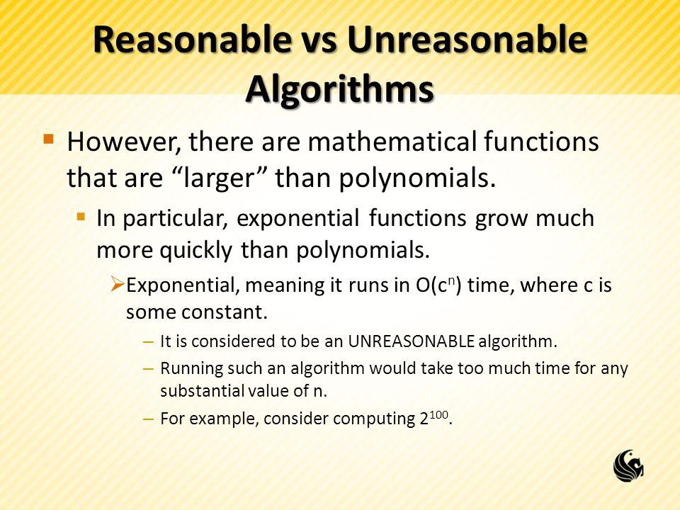 Reasonable vs Unreasonable Algorithms