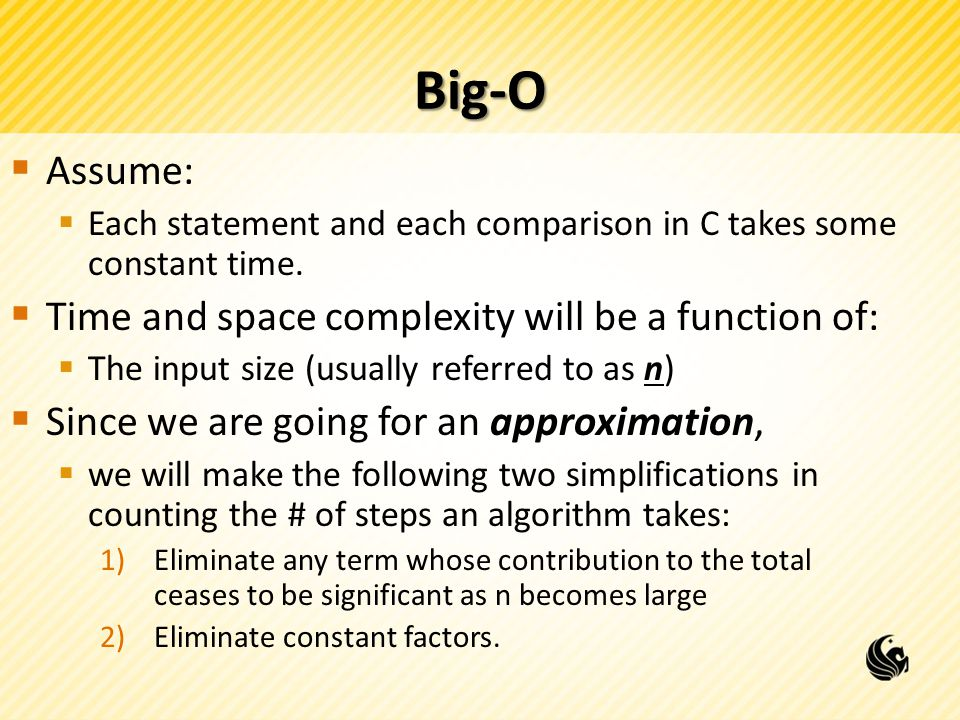 Big-O Assume: Time and space complexity will be a function of: