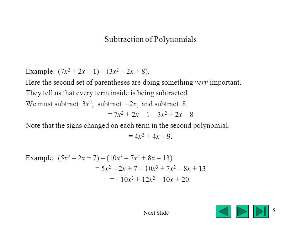 Subtraction of Polynomials