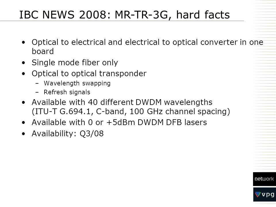 IBC NEWS 2008: MR-TR-3G, hard facts