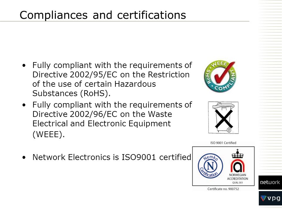 Compliances and certifications