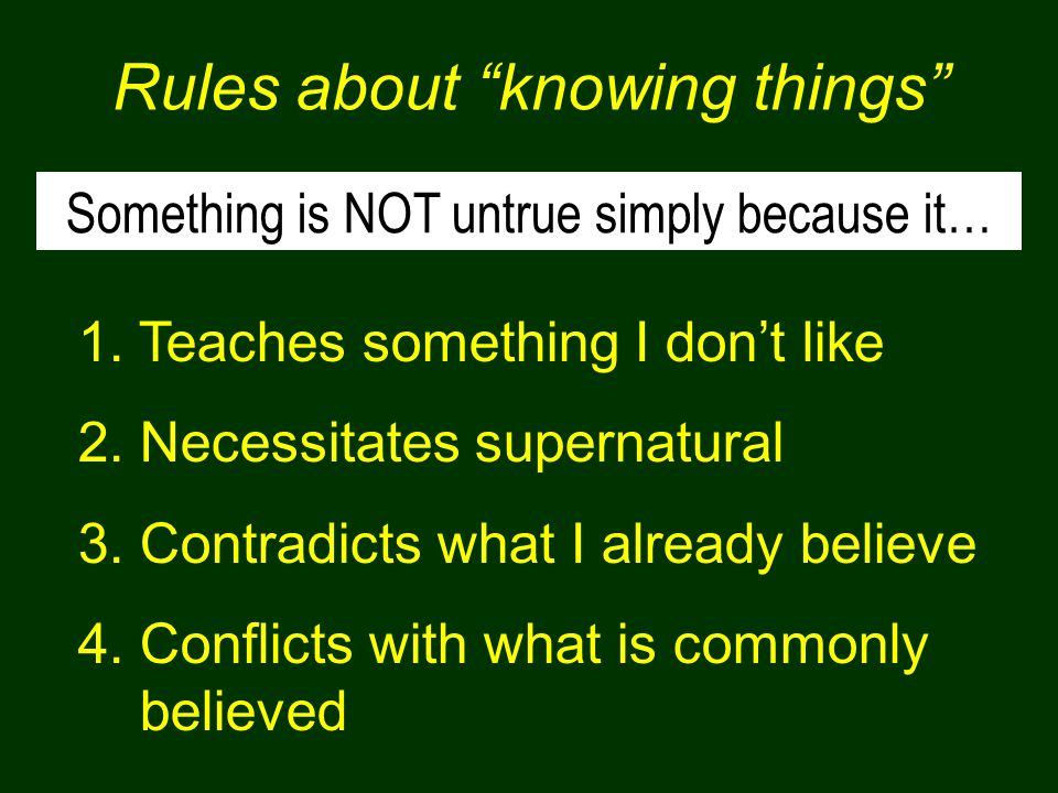 Rules about knowing things