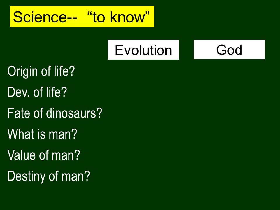 Science-- to know Evolution God Origin of life Dev. of life