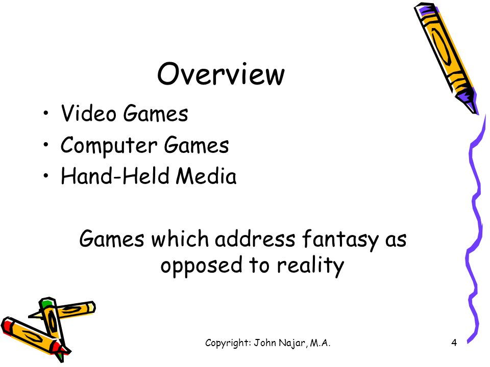 Overview Video Games Computer Games Hand-Held Media