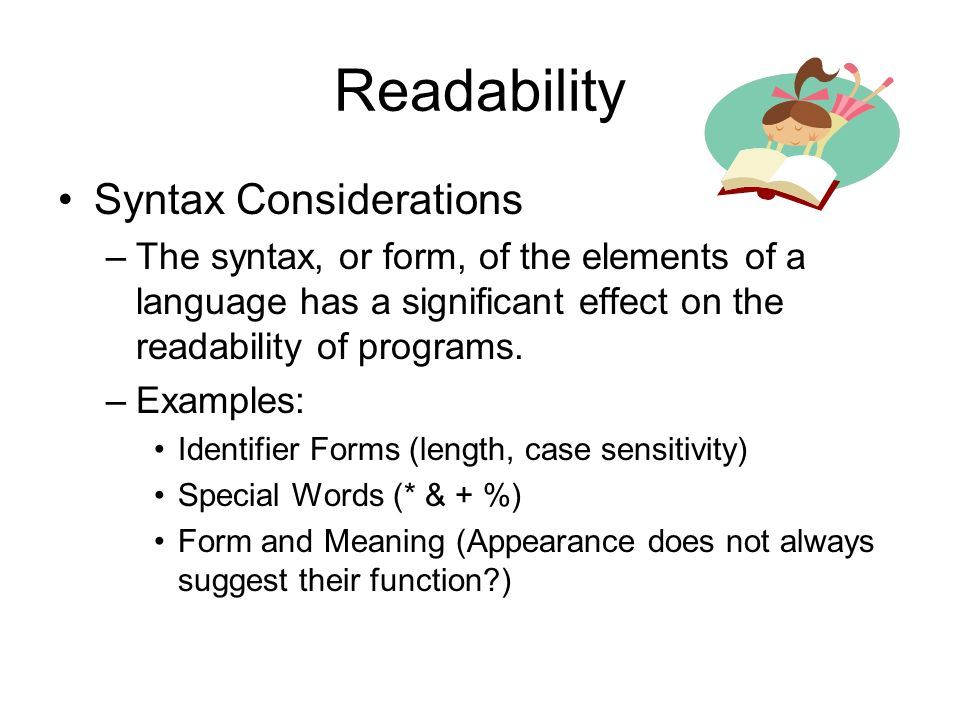 Readability Syntax Considerations