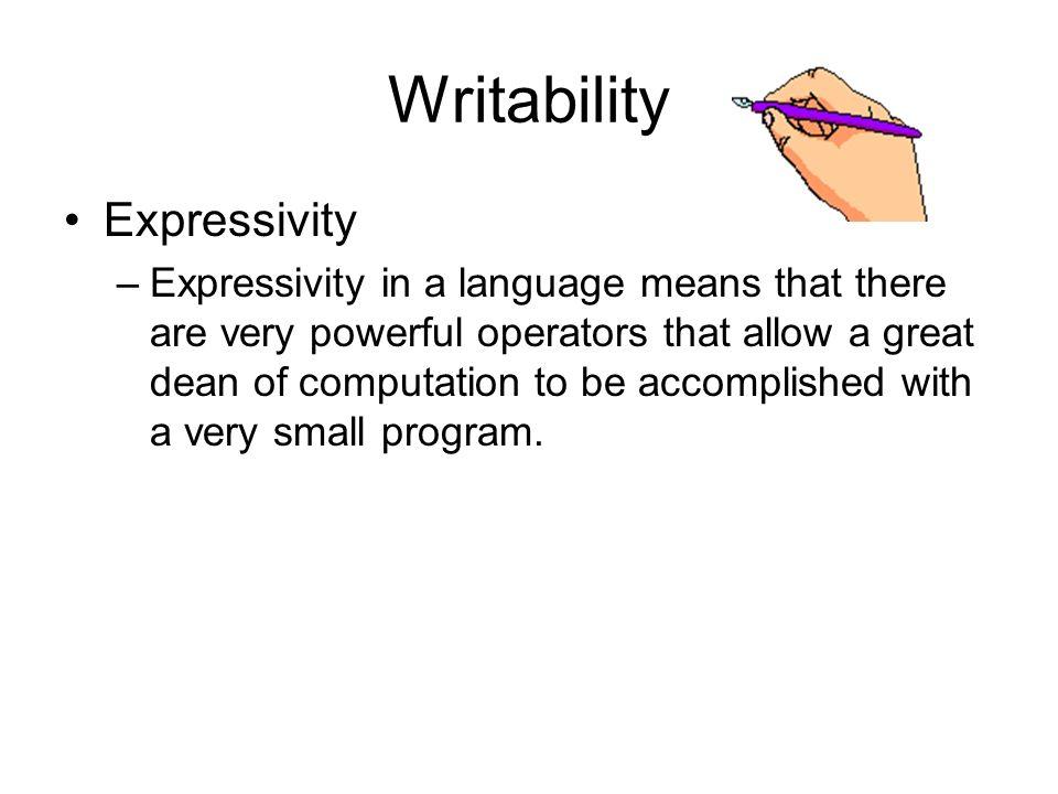 Writability Expressivity