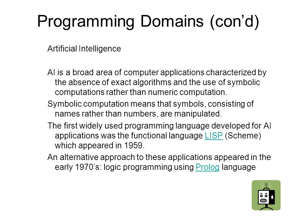 Programming Domains (con'd)
