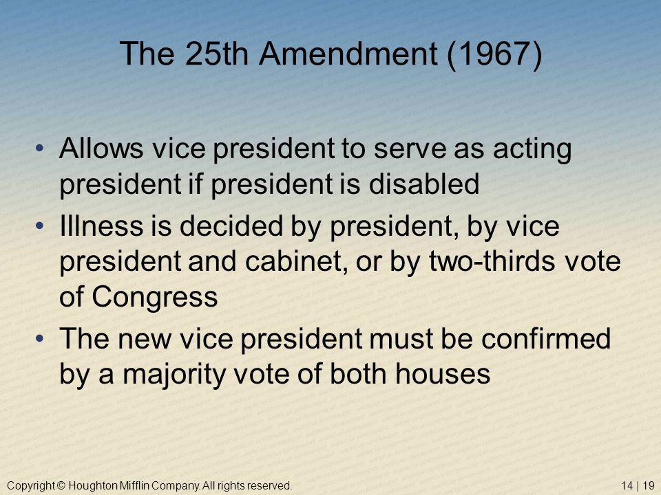 The 25th Amendment (1967) Allows vice president to serve as acting president if president is disabled.