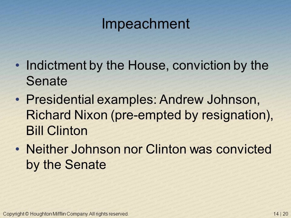 Impeachment Indictment by the House, conviction by the Senate