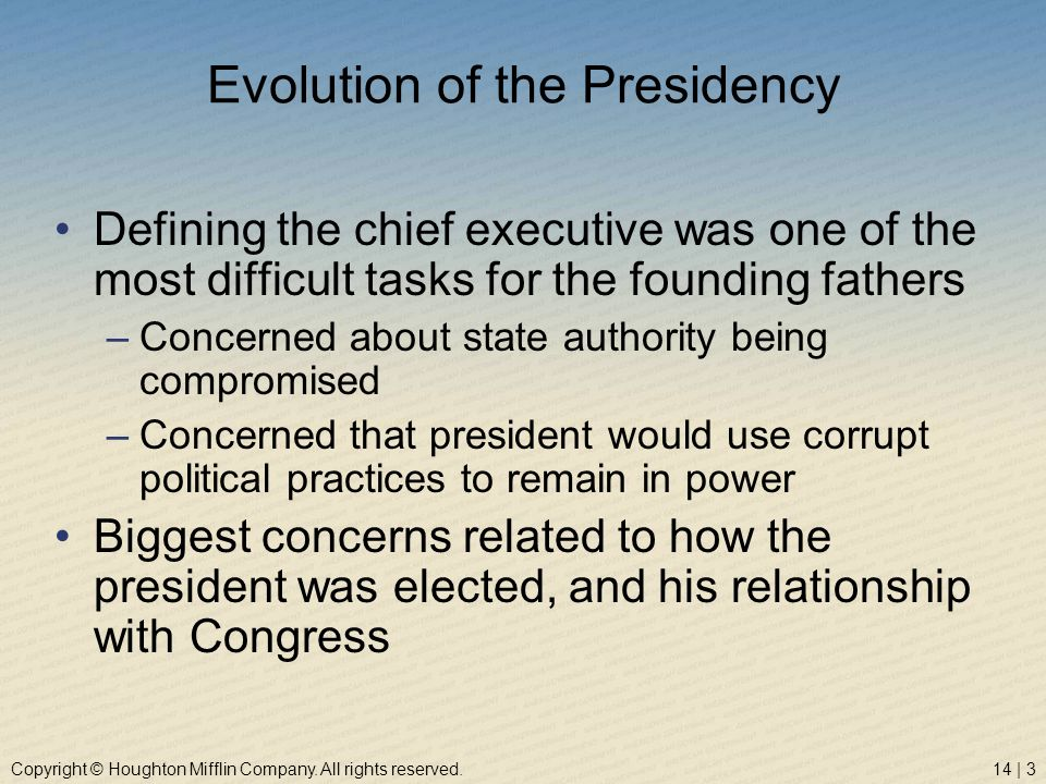Evolution of the Presidency