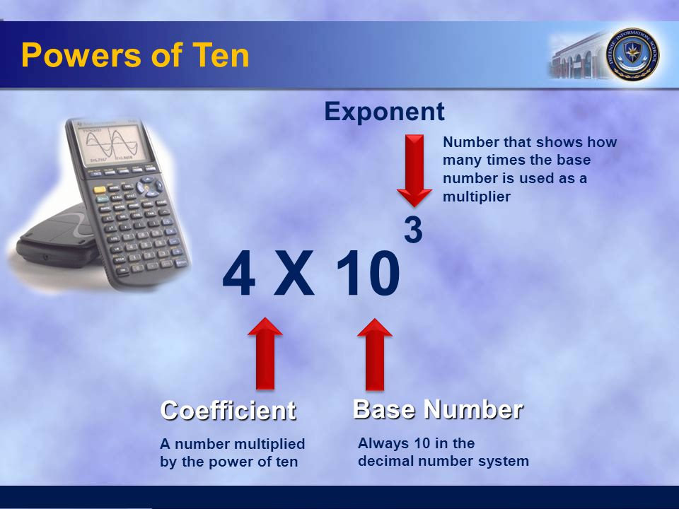 4 X 10 3 Powers of Ten Exponent Coefficient Base Number